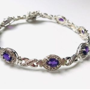Oval Cut Amethyst Diamond Accent SS Bracelet